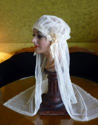 antique wedding cap veil 1920