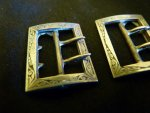 3 antique shoe buckles 1890