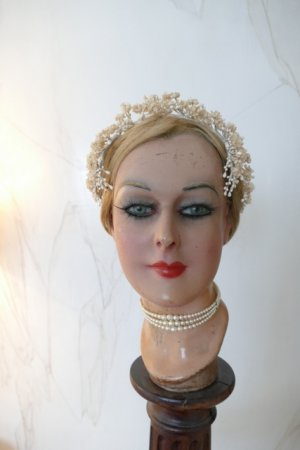 antique wax head piece 1920