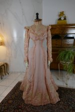 2 antique Rousset Paris society dress 1899