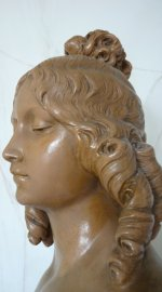 antique female bust, female bust 1910, female bust 1920, bust A. Carli, bust Auguste Henri Carli, french bust 1910, french bust 1920, Auguste Carli