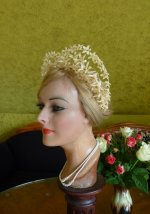 antique wax tiara, antique wax crown, wax crown 1910, wax tiara 1910, antique wedding accessoires, wedding 1910
