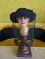 2 antique mourning Hat 1905