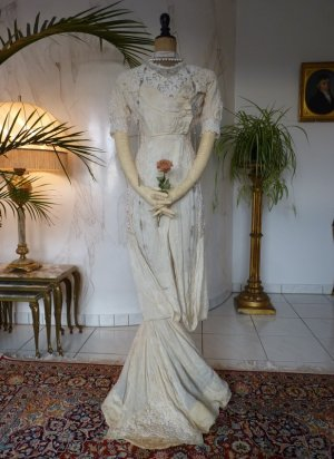 antique dress, antique wedding dress, wedding dress 1912, wedding gown 1912, Titanic Era wedding dress, Titanic Era gown