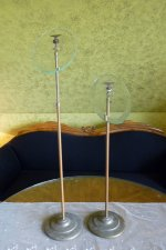 2 antique glass shoe stands 1900
