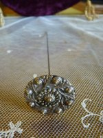 2 antique hat pin 1890