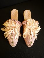 antique shoes, antique slippers, shoes 1915, antique boudoir slipper, antique dress, antique gown