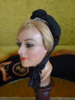 3 antique mourning bonnet