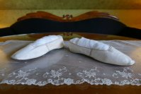 3 antique slip on shoes 1840