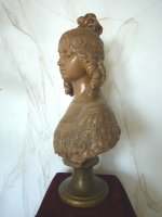 4 antique female bust