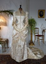 19 antique bustle wedding gown 1879
