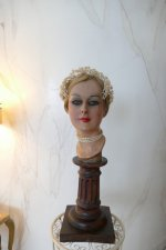 2 antique wax head piece 1920