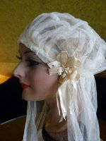 1 antique wedding cap veil 1920