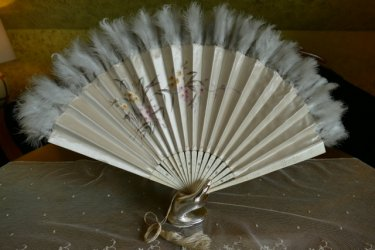 antique silk Bone feather Fan 1900