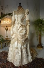 3 antique bustle wedding gown 1879