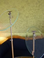 3 antique glass shoe stands 1900