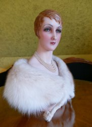 antique wax Bust 1920