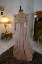 3 antique Rousset Paris society dress 1899