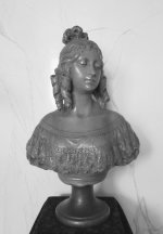 3 antique female bust