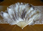 2 antique marabu feather fan 1890