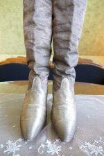 2 antique gold lamee boots 1920