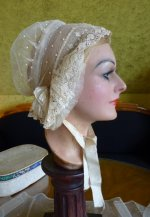 1 antique wedding bonnet 1840