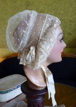 3 antique wedding bonnet 1840