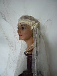 antique bridal cap veil HB