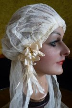 9 antique wedding cap veil 1920