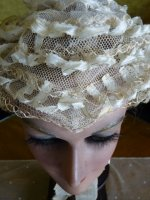 3 antique wedding bonnet 1850