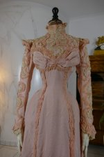 5 antique Rousset Paris society dress 1899