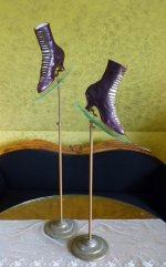 12 antique glass shoe stands 1900