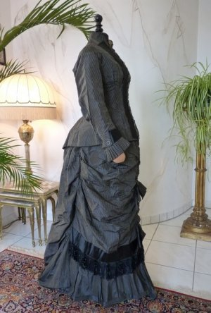 antique bustle day dress 1875