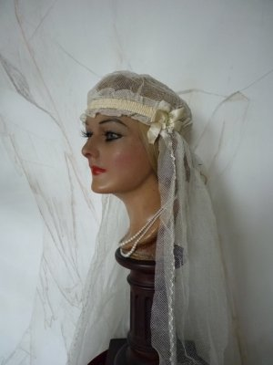 antique veil, antique cap, wedding cap, bridal cap, antique bridal cap, antique wedding weil, antique bridal veil, antique hat, cap 1920s, veil 1920s