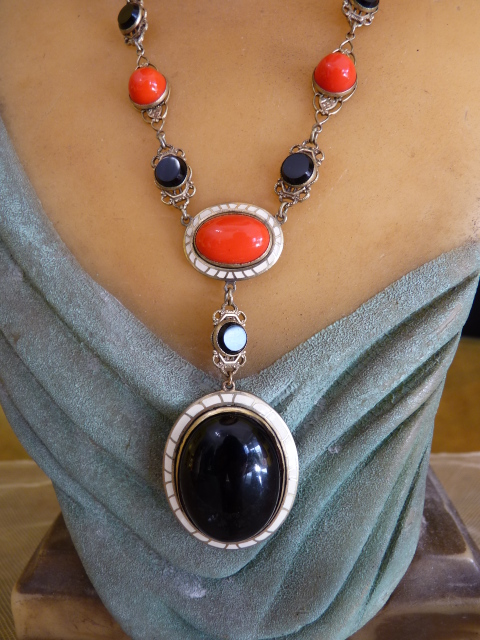 Art Deco Enamel Black Amp Red Glass Necklace 1920s Www