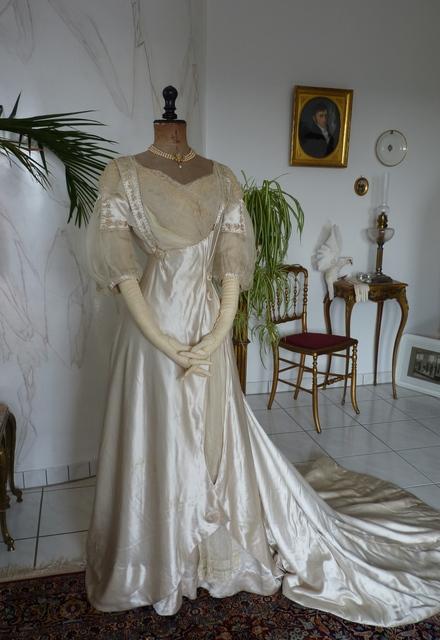 White Satin Wedding Gown Ca 1909 Www Antique Gown Com