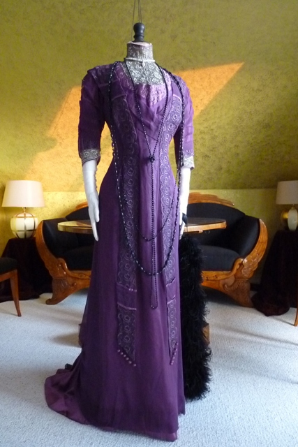 Art Nouveau Purple Silk Dinner Gown Ca 1912 Www