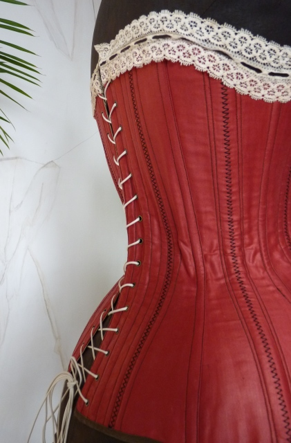 Tempting Red Victorian Corset, ca. 1880 - www.antique-gown.com